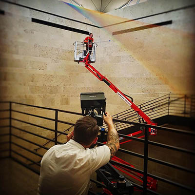Director Joe Harris with video camera shooting Gabriel Dawe at Amon Carter Museum Fort Worth