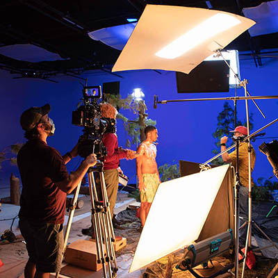 Video production in blue screen studio for Dr. Squatch organic soap